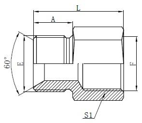 Britu standarta šļūteņu adapteru rasējums