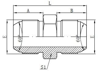 JIS metrisko vīriešu adapteru zīmējums